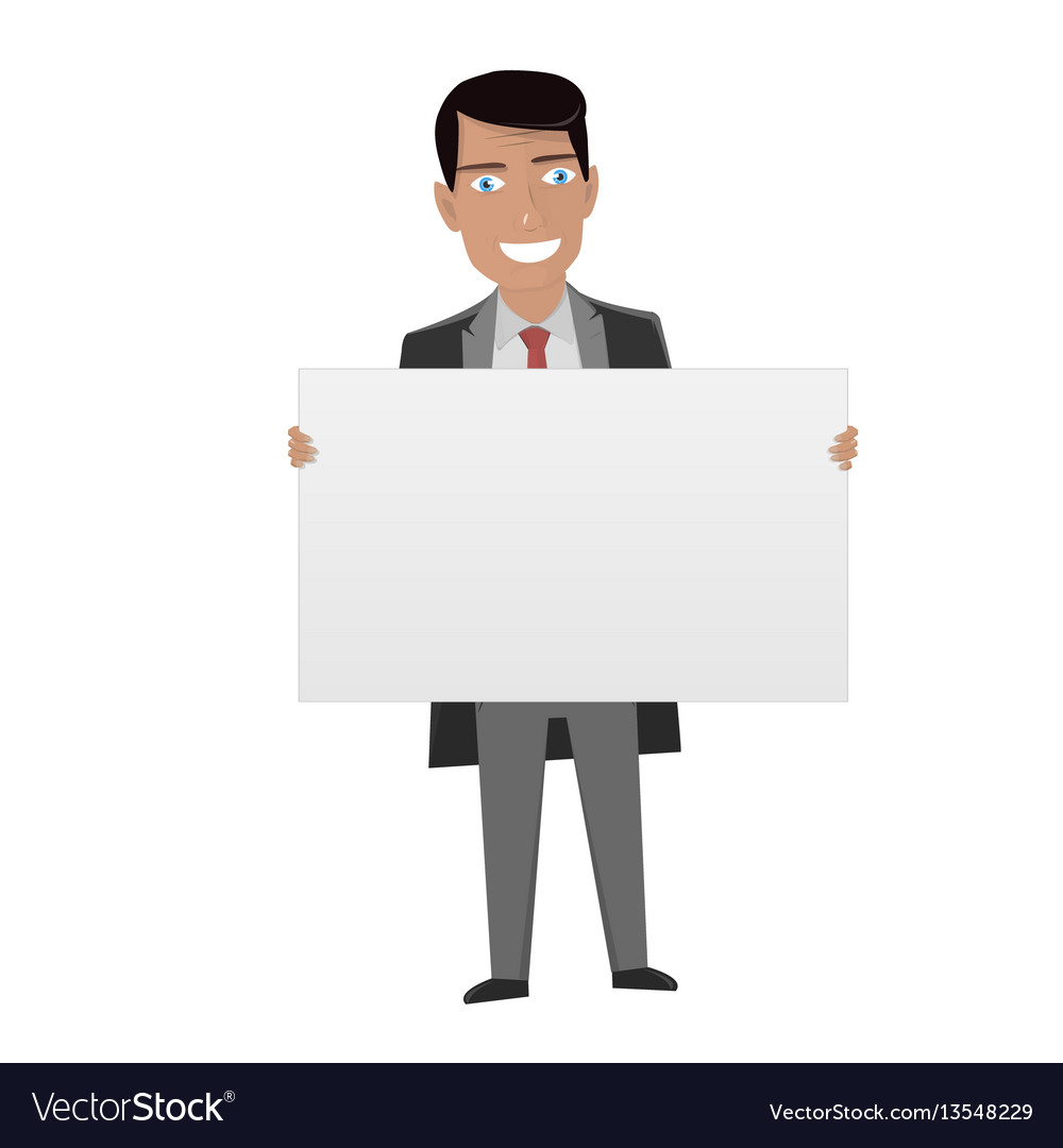 White board for business man in the suit holding