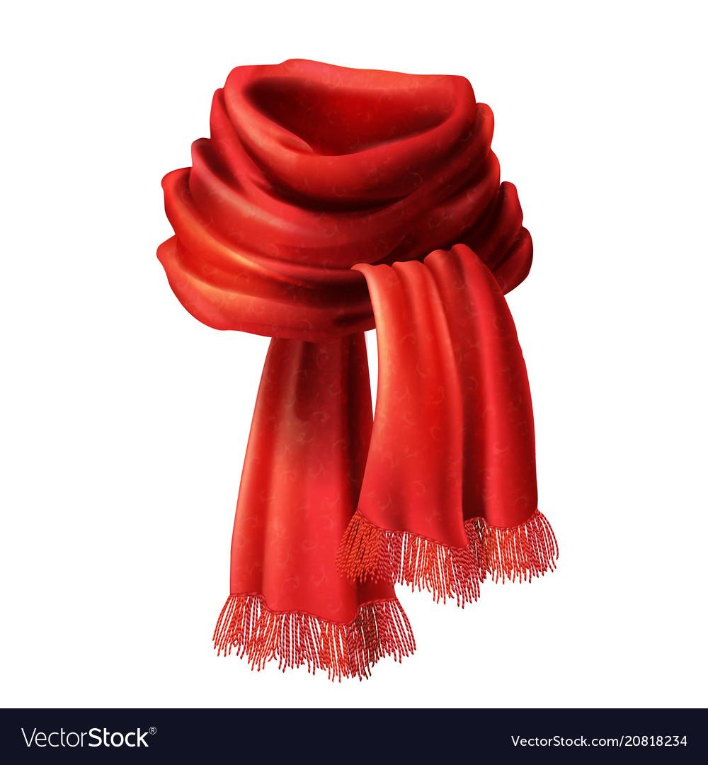 3d realistic silk velvet red scarf vector image