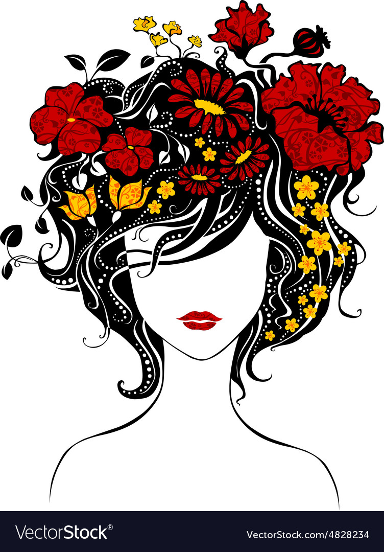 Abstract beautiful girl with flowers in hair vector image izmirmasajfo