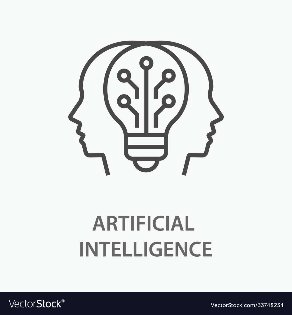 Artificial intelligence line icon on white