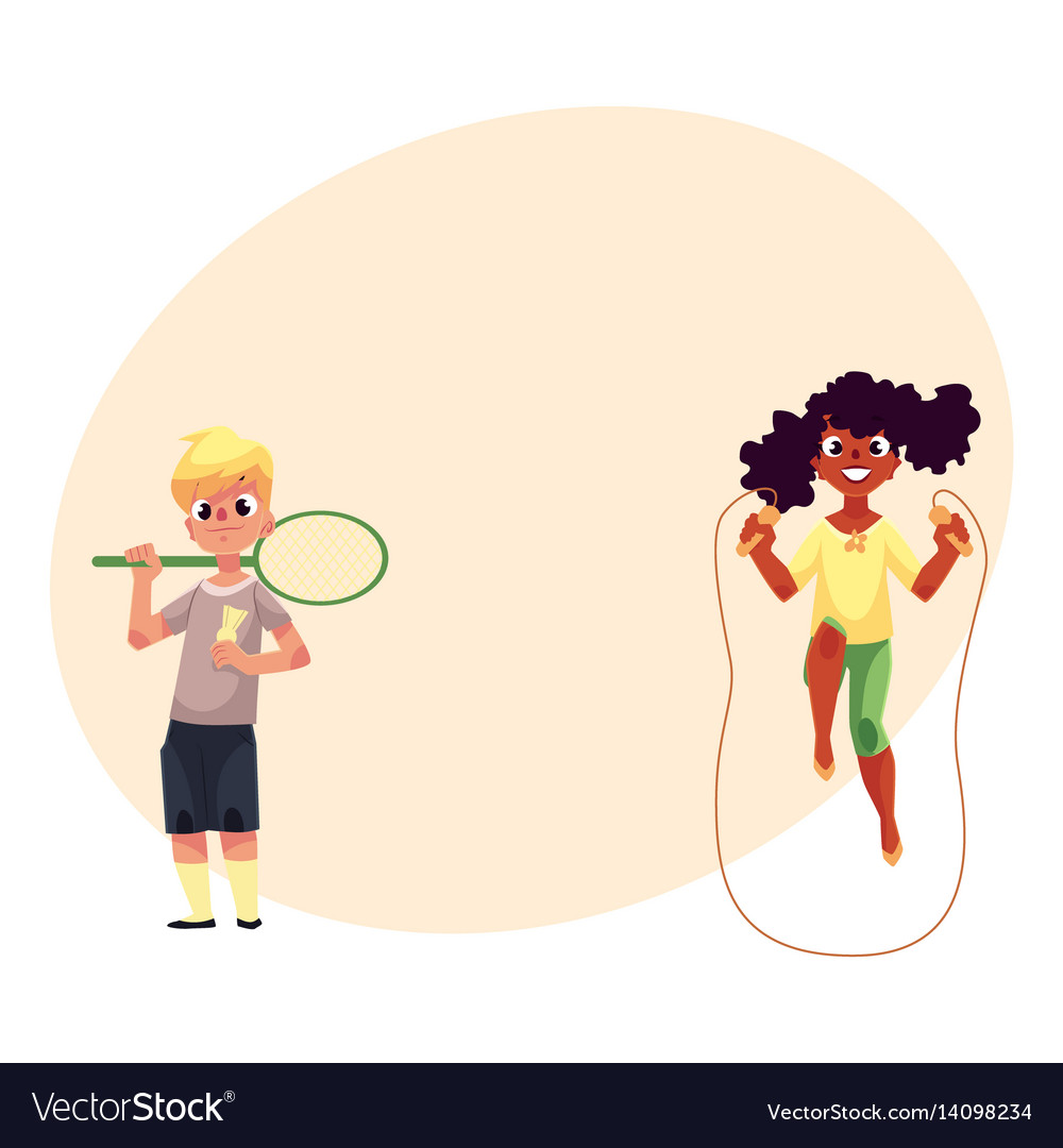 Boy and girl with jumping rope badminton racket vector image