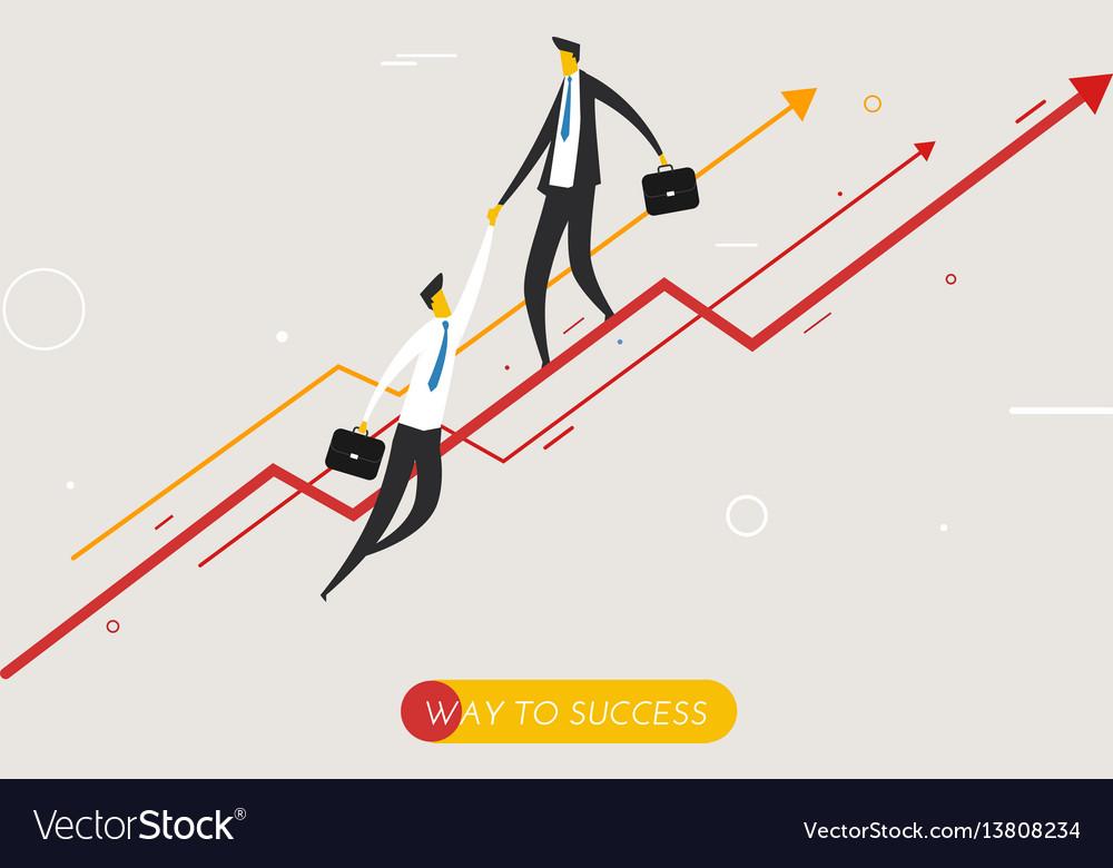Businessman climbing graph help