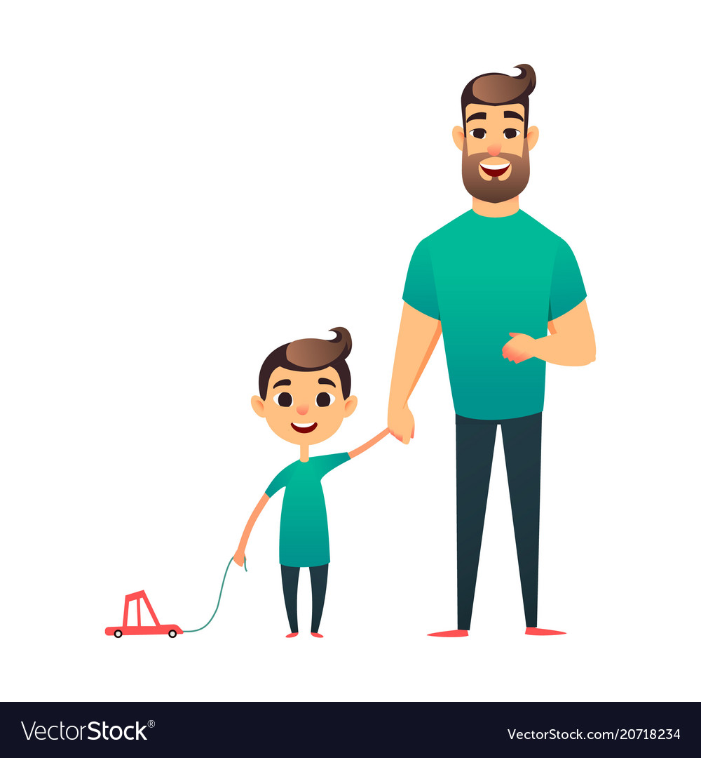Cartoon father and son man and boy happy