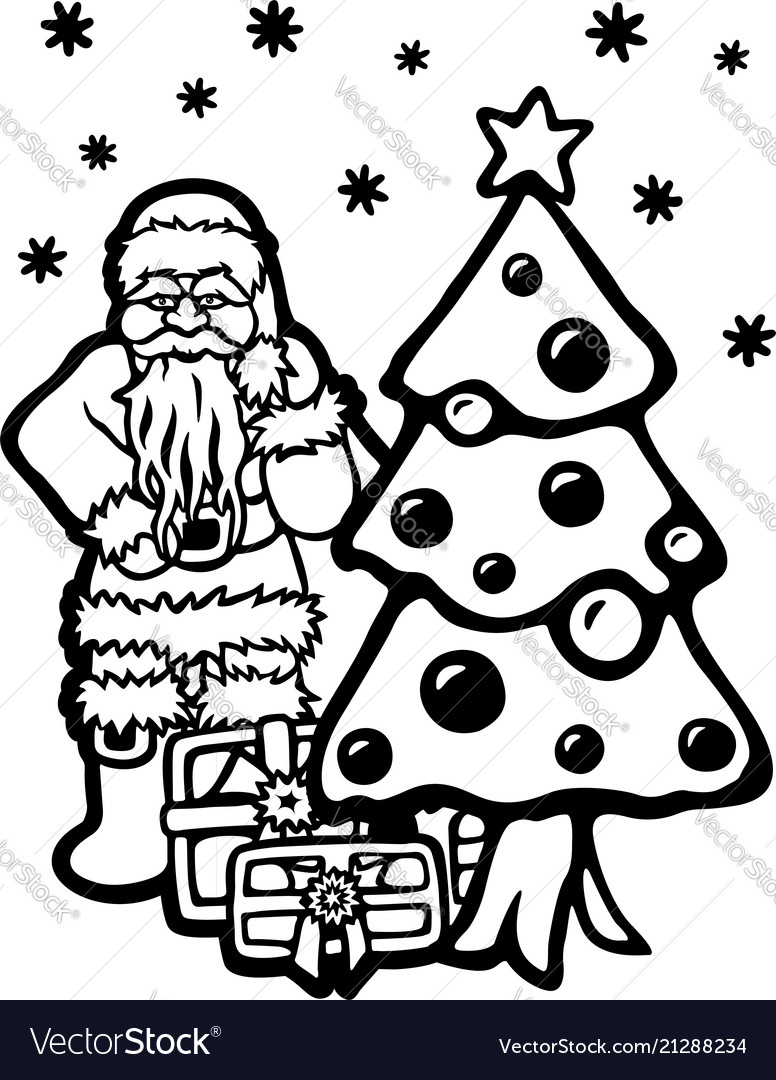 Cartoon santa christmas tree and gifts