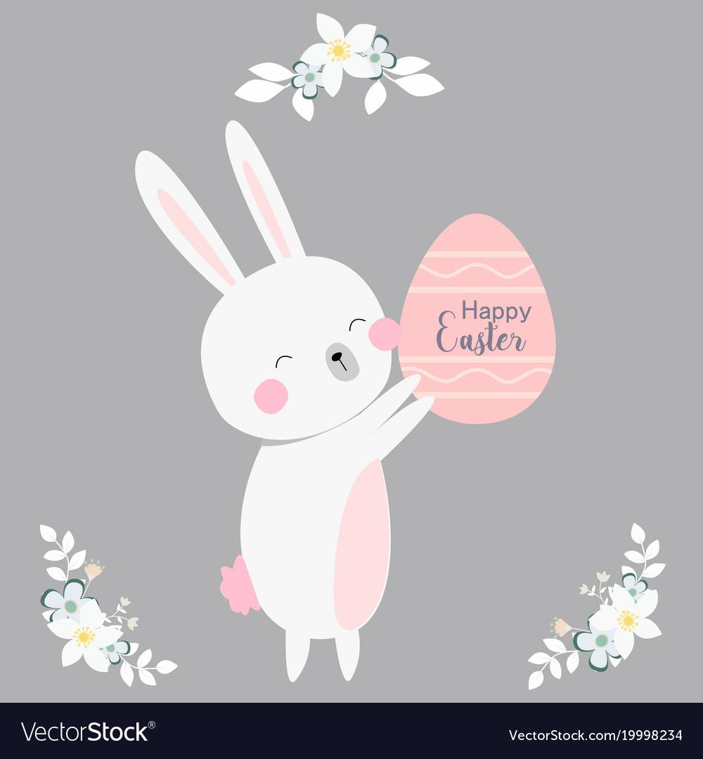 Cartoon style easter bunny greeting card