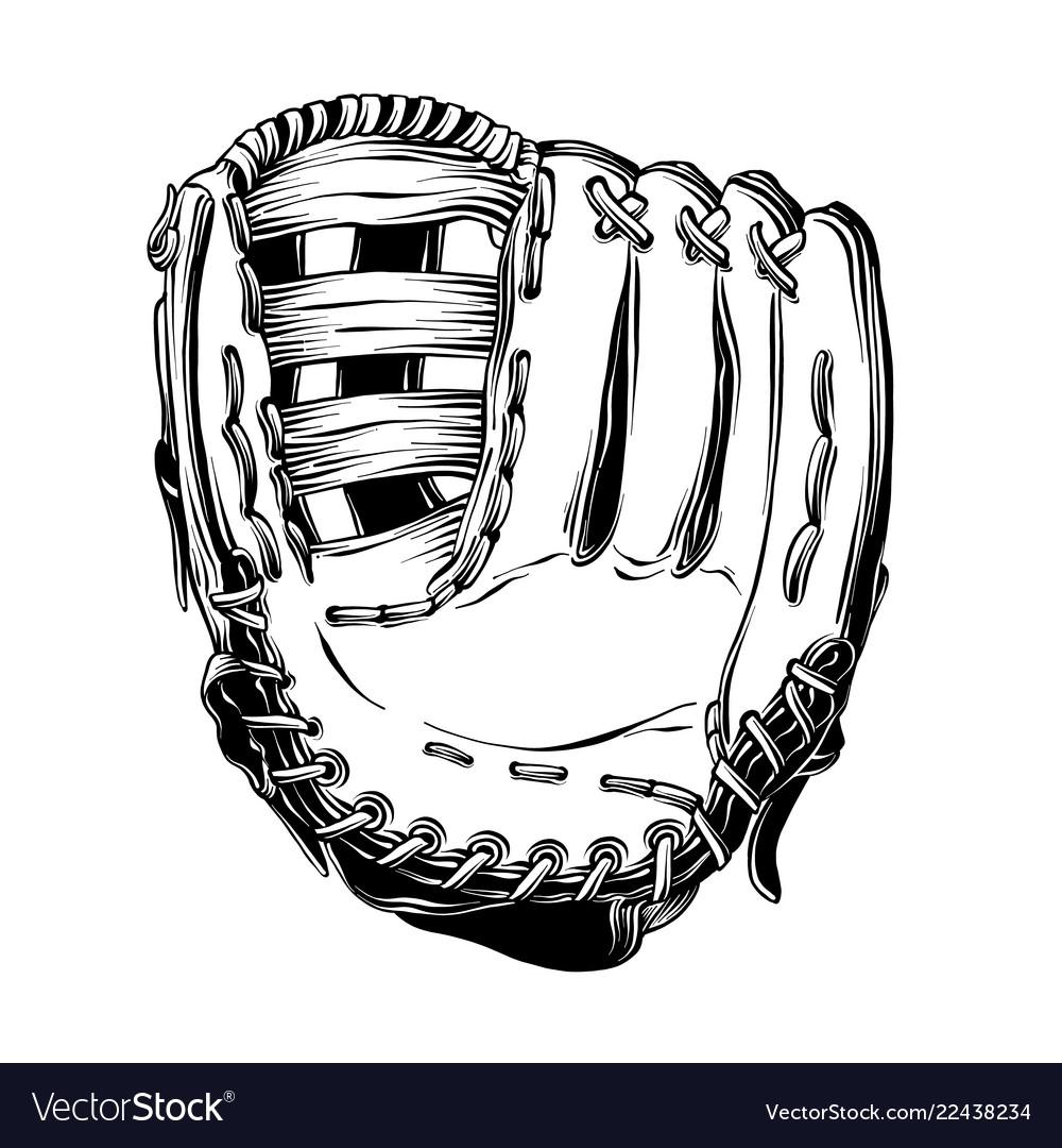 Hand drawn sketch of baseball glove in black