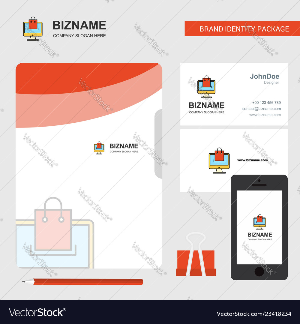Online shopping business logo file cover visiting