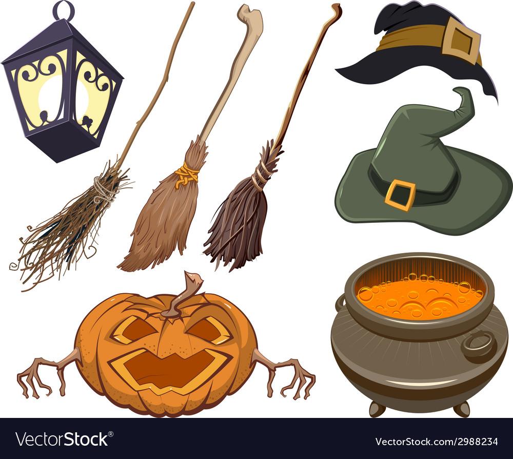 Set halloween symbol vector image