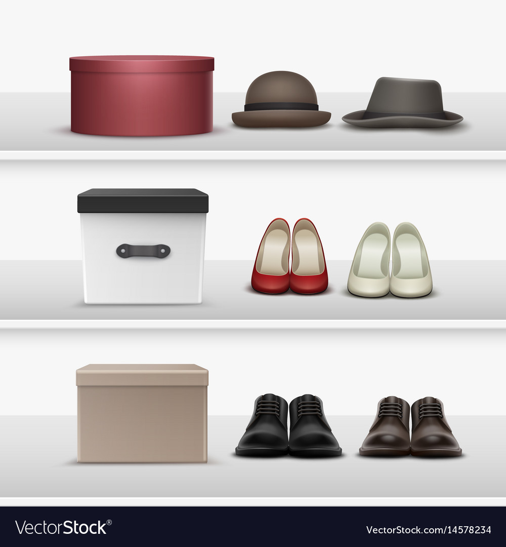 Shelves with footwear and hats