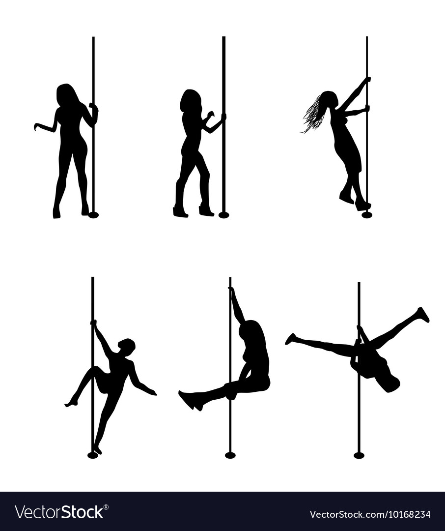 Silhouette dancing striptease girl on pole