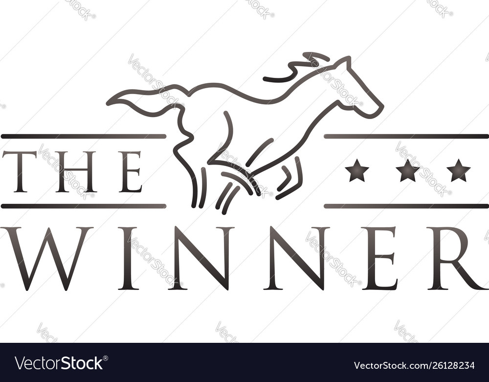 Simple line art horse race logo symbol