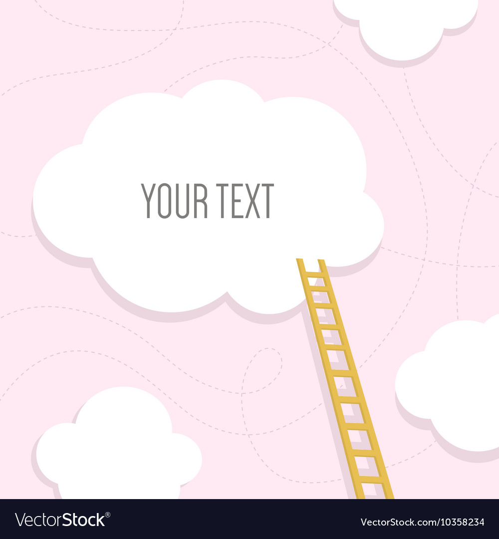 stairs to the cloud with text place template for vector image
