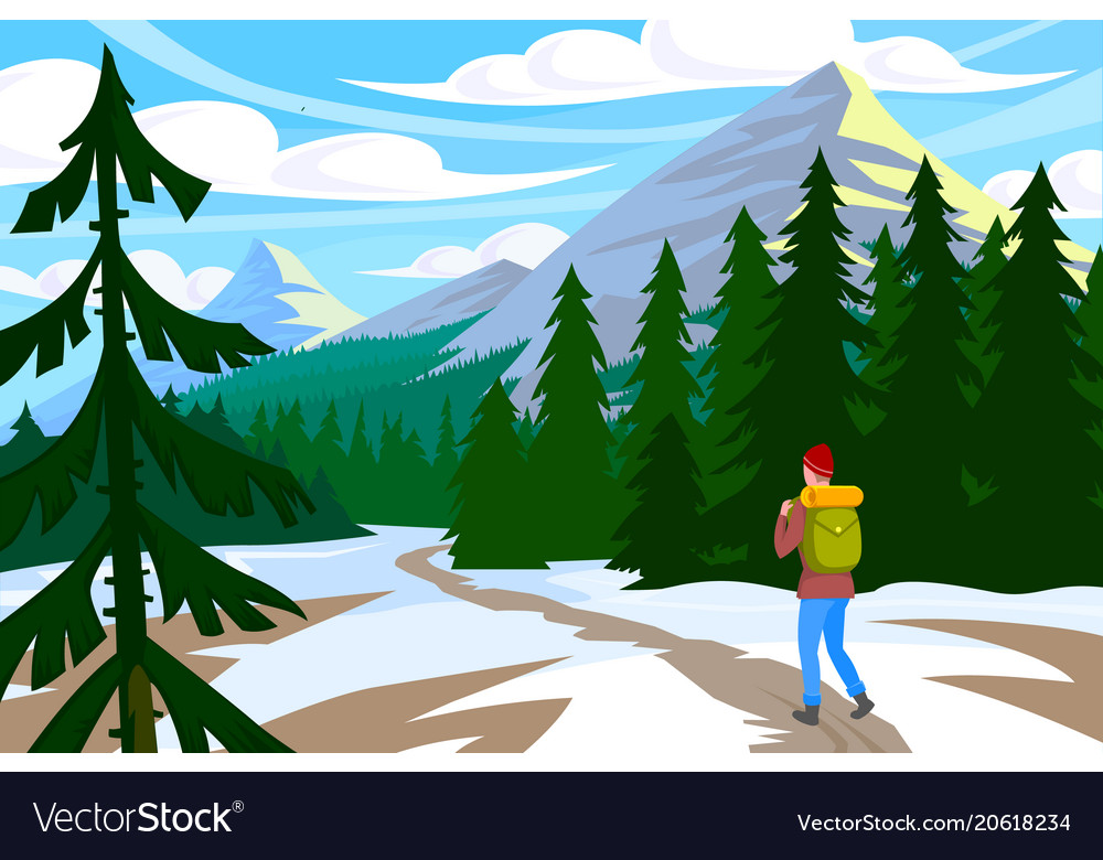 Traveler walk in mountain