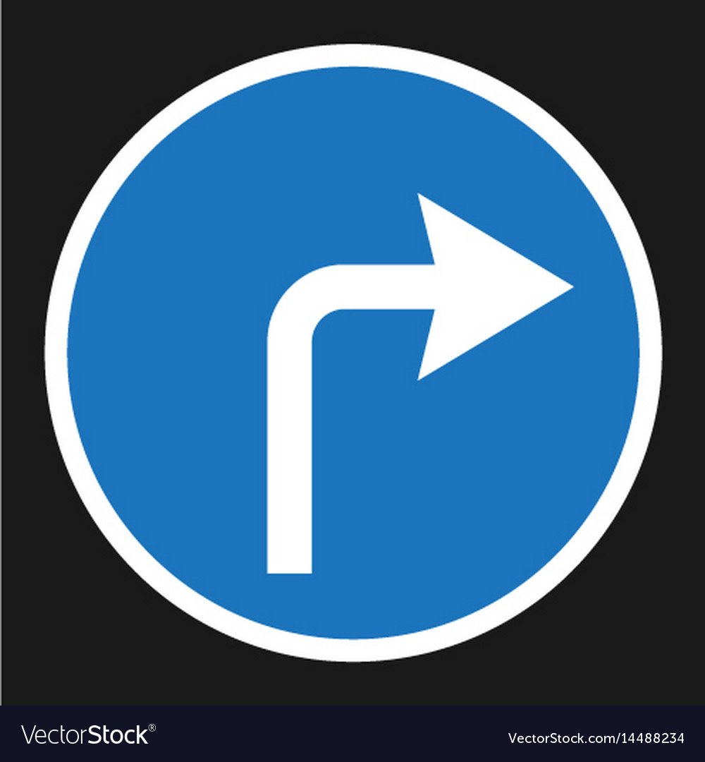 Turn right arrow sign flat icon