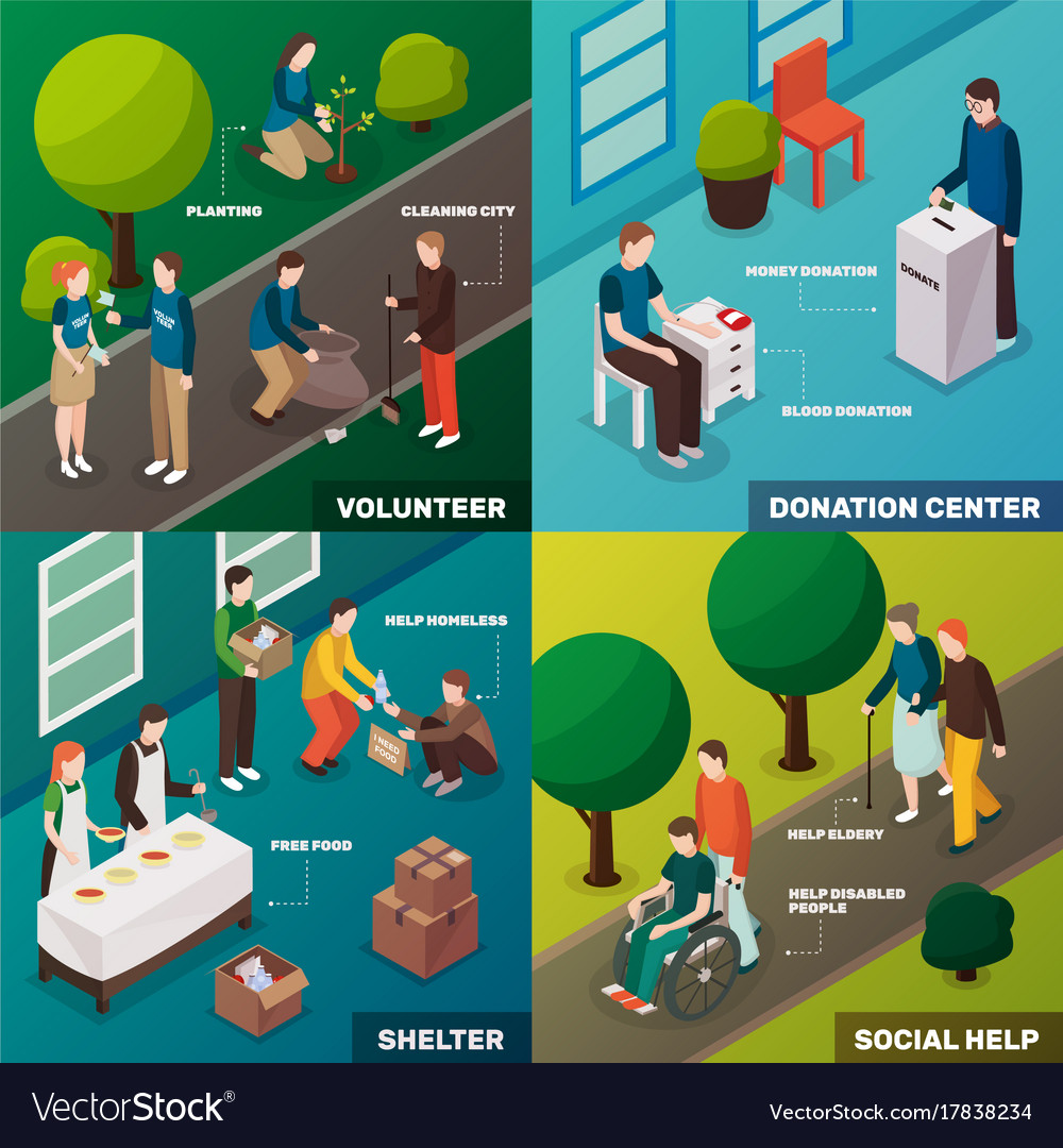 Volunteering isometric design concept