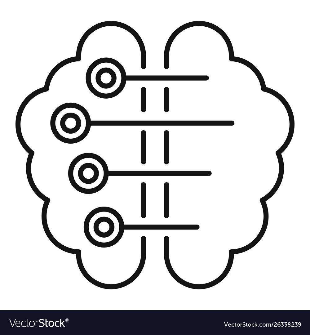 Ai smart brain icon outline style