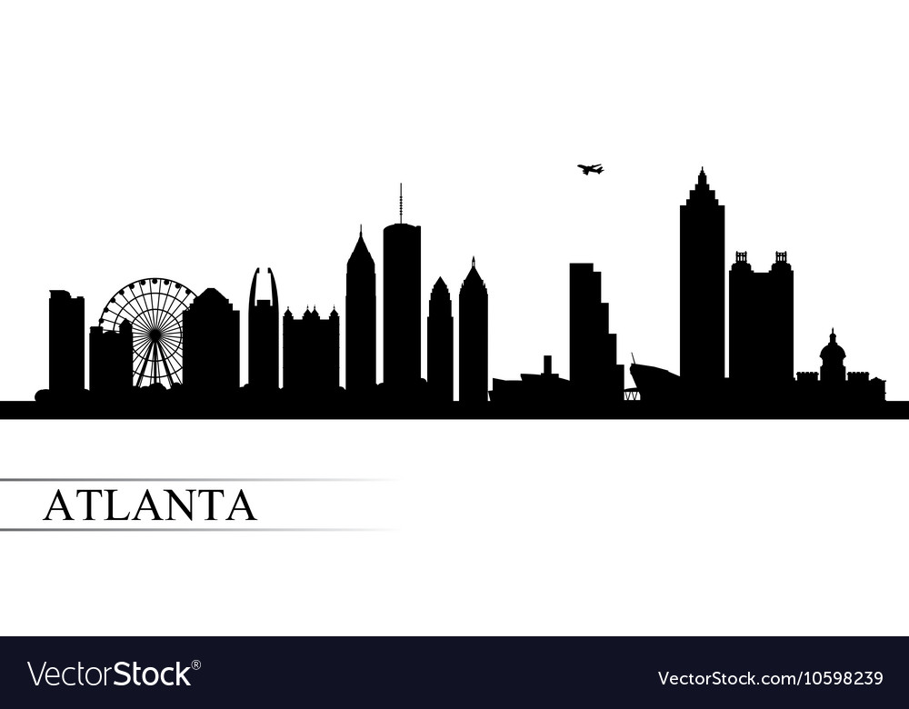 atlanta city skyline silhouette background vector image  vectorstock