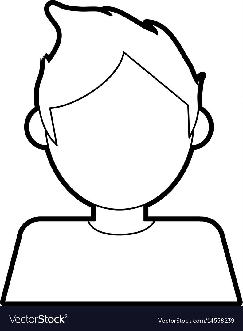 Black silhouette cartoon faceless half body man