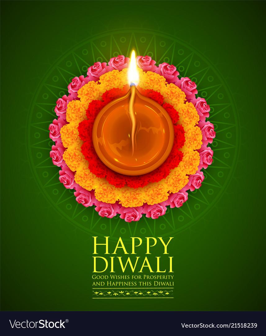 Burning diya on happy diwali holiday background