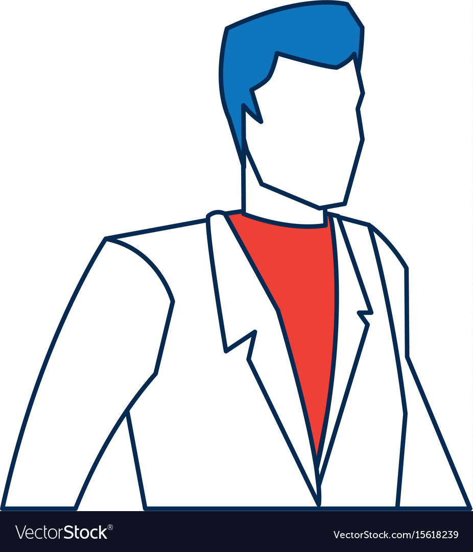 Business man character person in blue and orange
