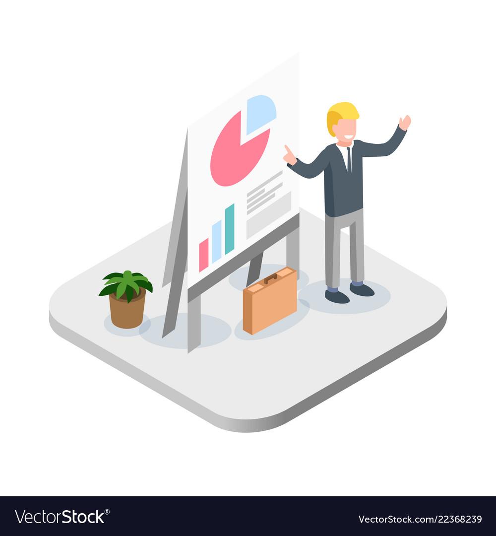 Business presentation isometric financial