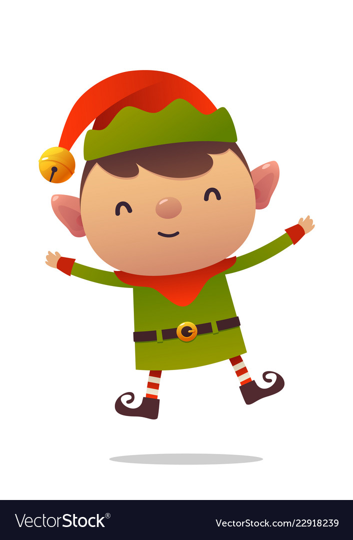 Cute Christmas Pictures.Cheerful Cartoon Cute Christmas Elf Jumps