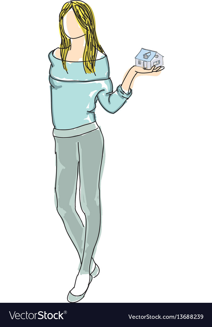 Drawn girl in sweater holding house vector image