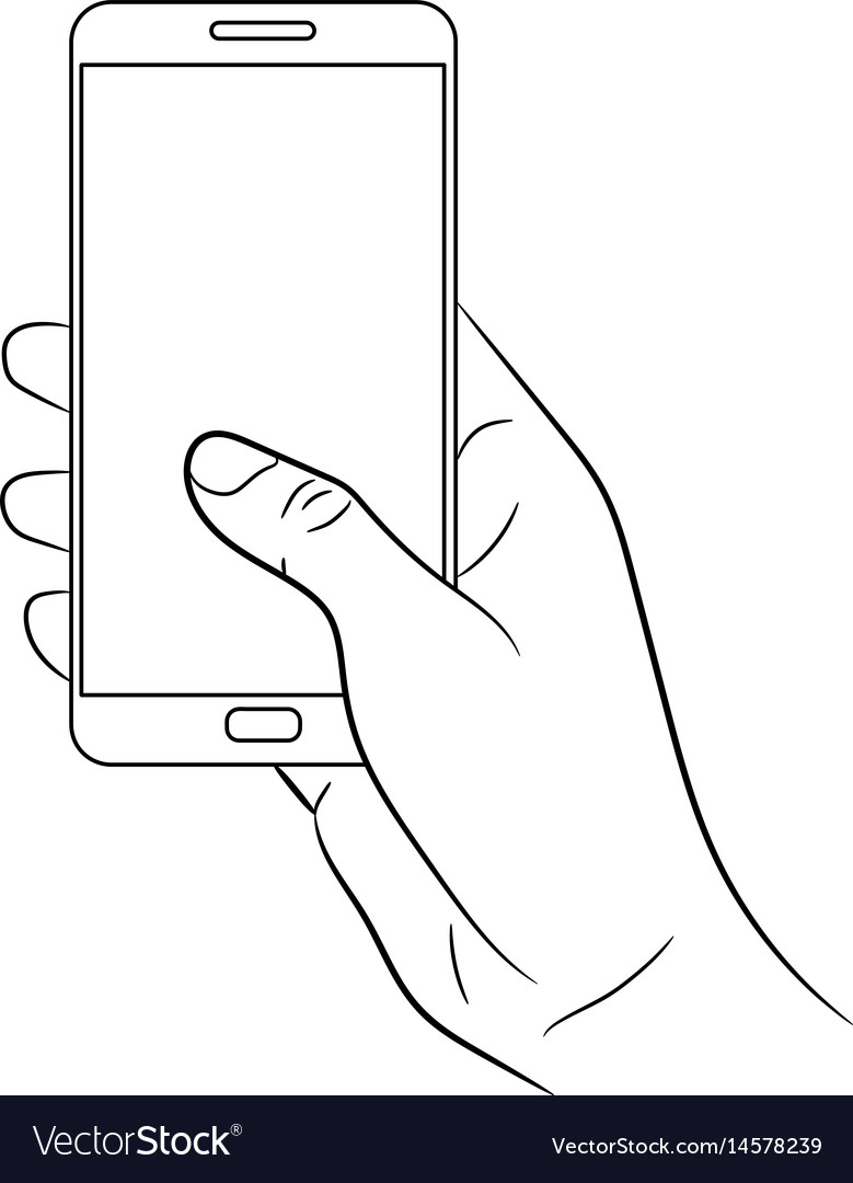 Female hand holding a smart phone on white