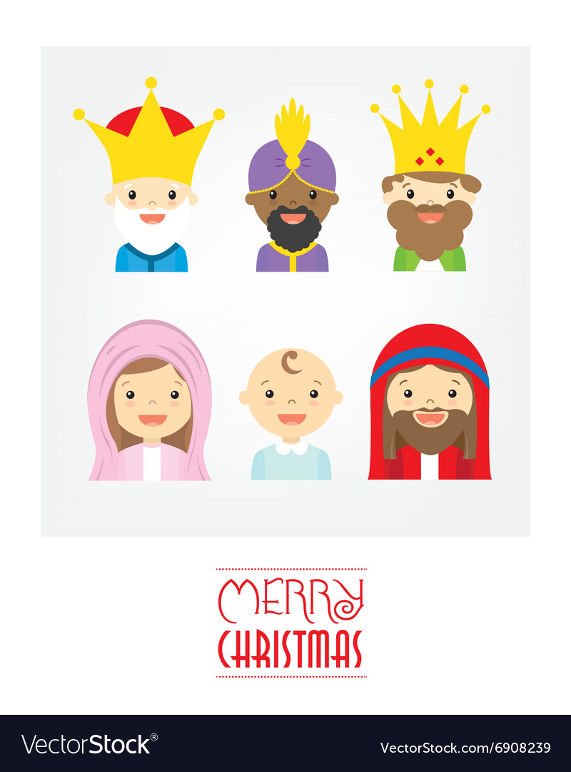 Holy Family and the three wise men vector image