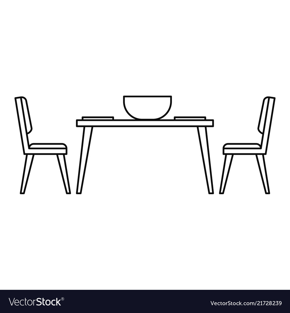 Kitchen Table And Chair Icon Outline Style Vector Image