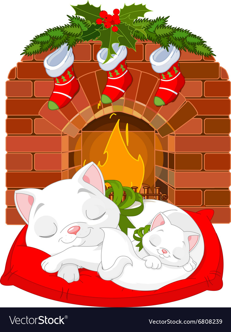 Kitten near Fireplace vector image