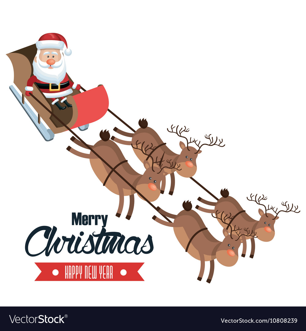 Merry christmas and happy new year santa flying