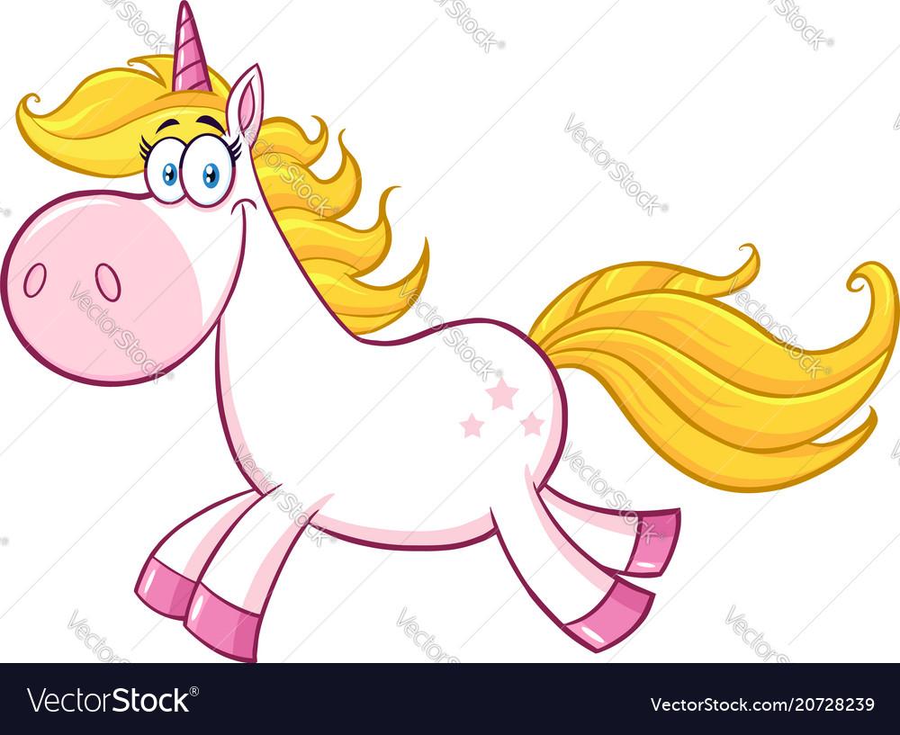 Smiling magic unicorn character running