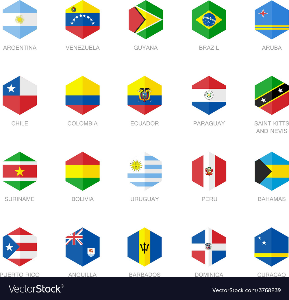 South America and Caribbean Flag Icons Hexagon