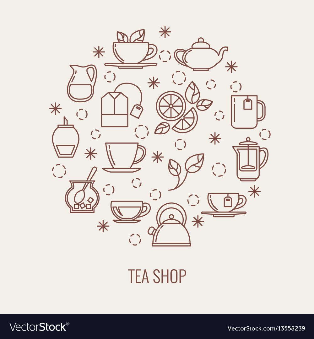 Tea thin line icons set in a circle