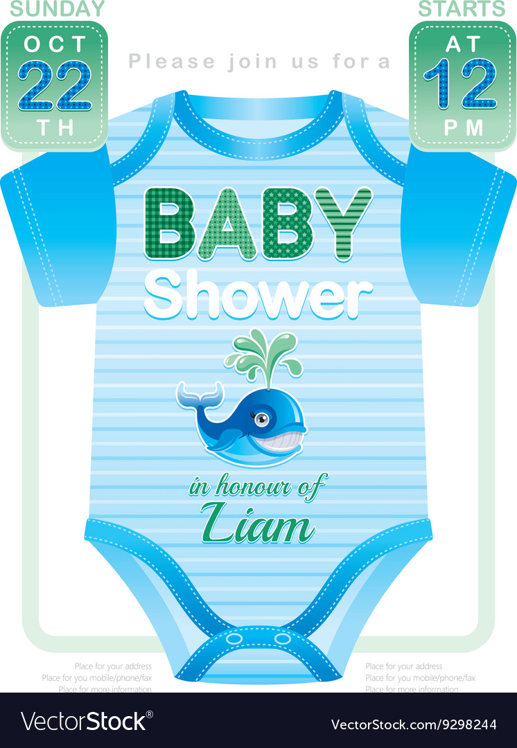 Baby shower boy invitation design with body suit
