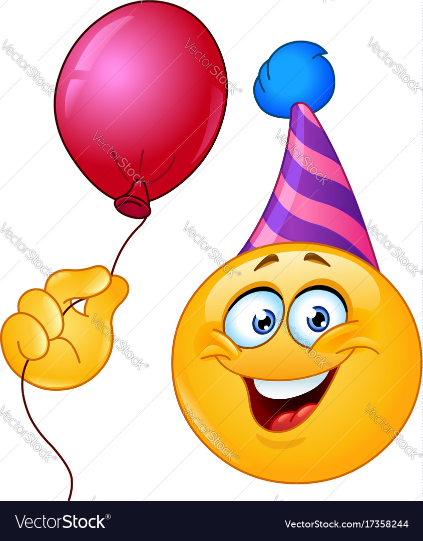 Birthday Emoticon With Balloon Vector Image