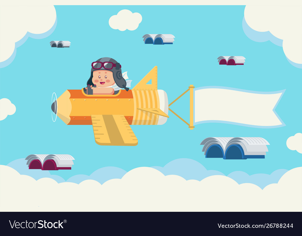 Boy on pencil plane and flying books