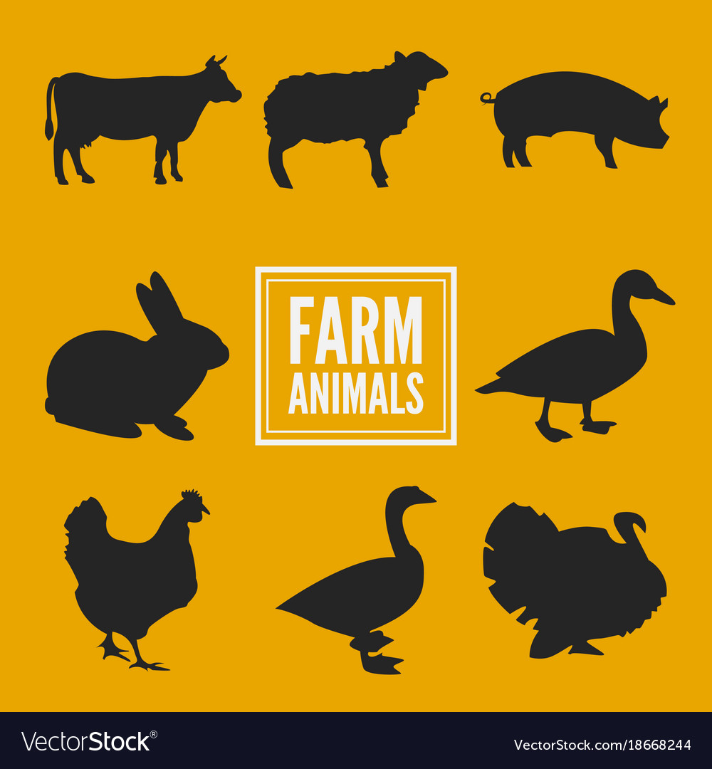 Farm animals silhouettes collection isolated on