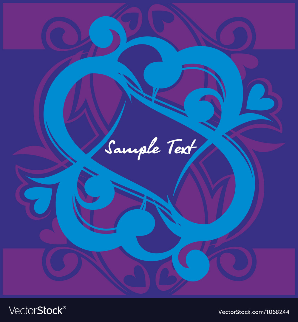 Floral hearth on blue background vector image