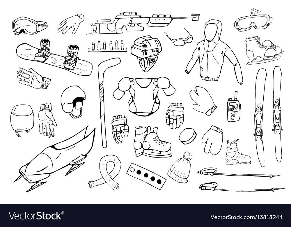 Hand drawn winter sports equipment set