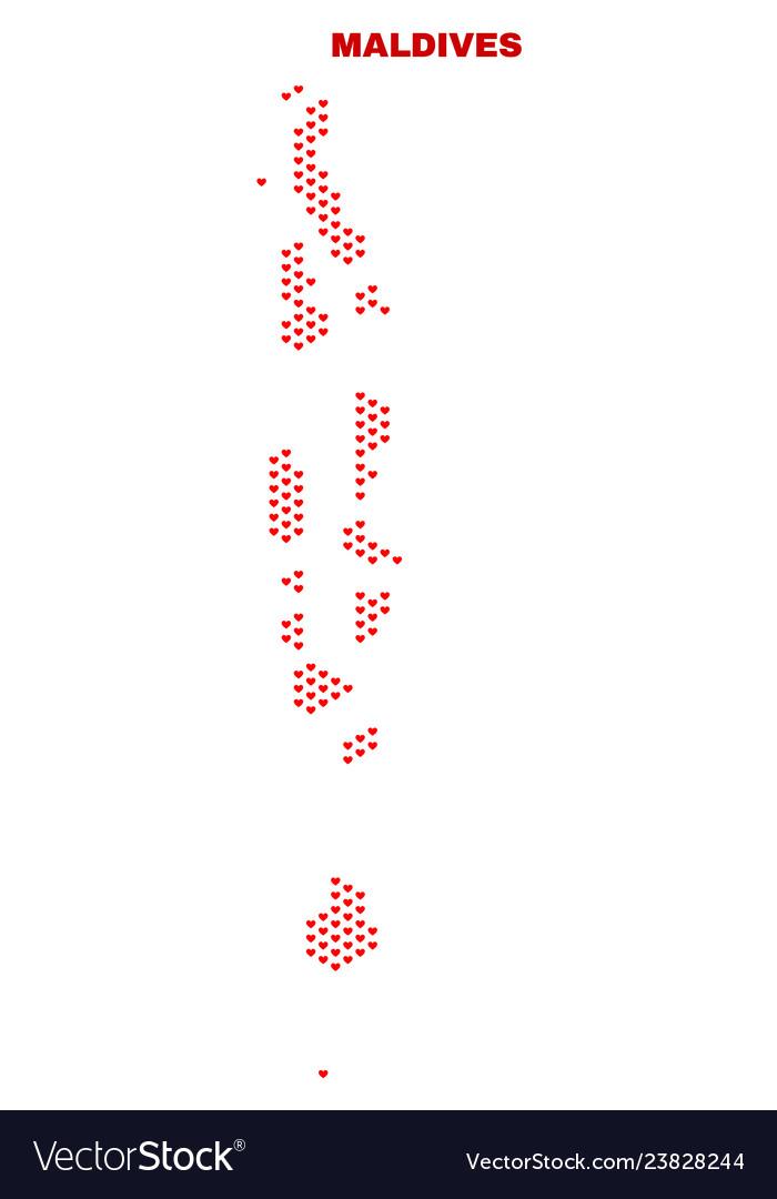 Maldives map - mosaic of lovely hearts Royalty Free Vector