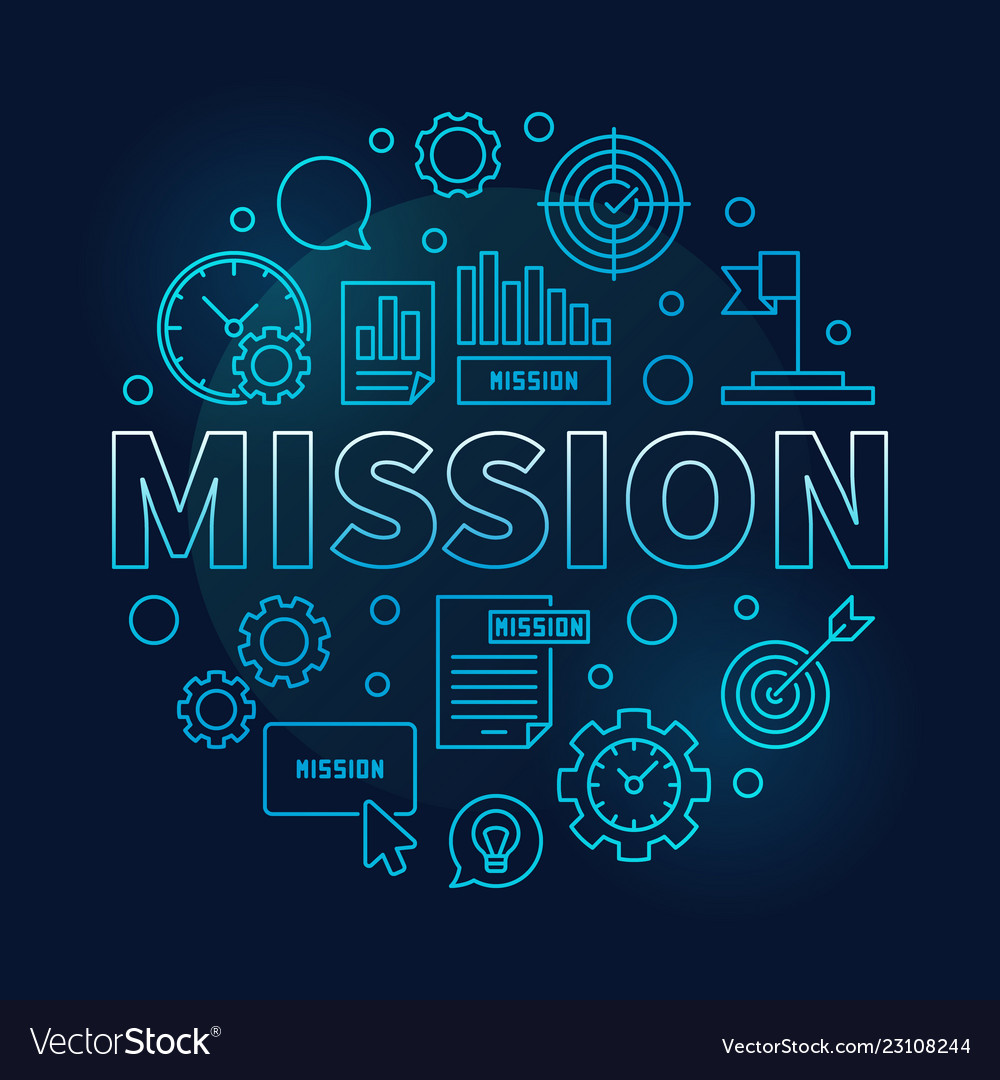 Mission round blue business outline