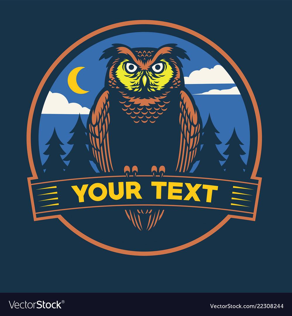 Image of: Nocturnal Hunt Nocturnal Owl Badge Design Vector Image Spirit Of Metal Nocturnal Owl Badge Design Royalty Free Vector Image