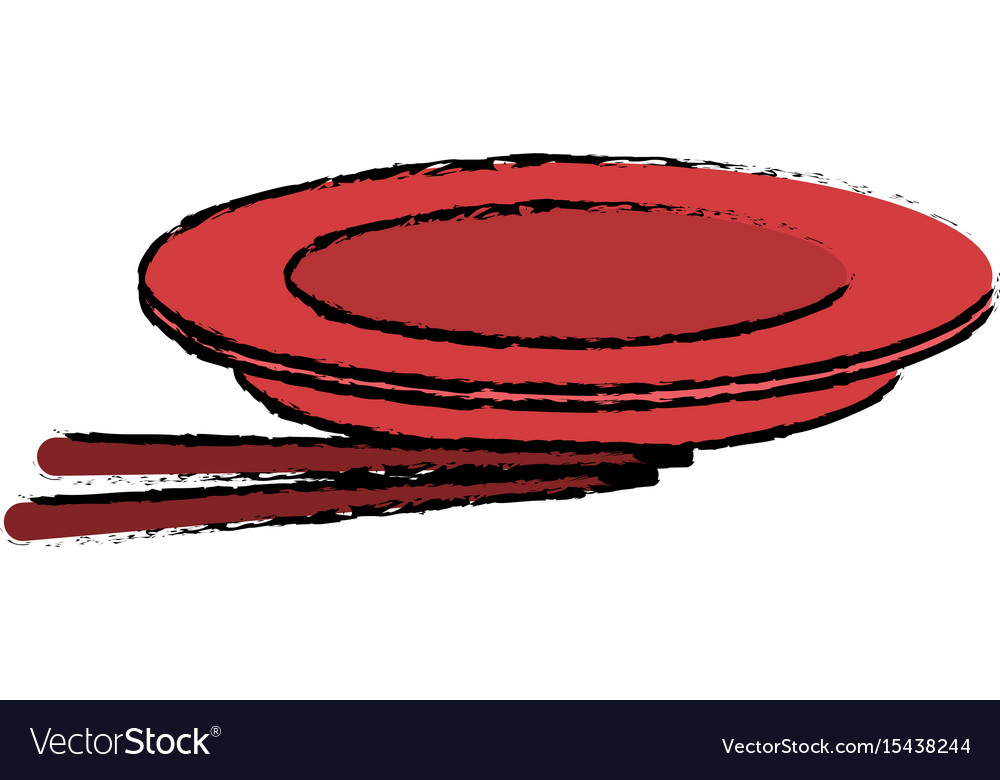 Plate dish chopstick kitchen utensil vector image