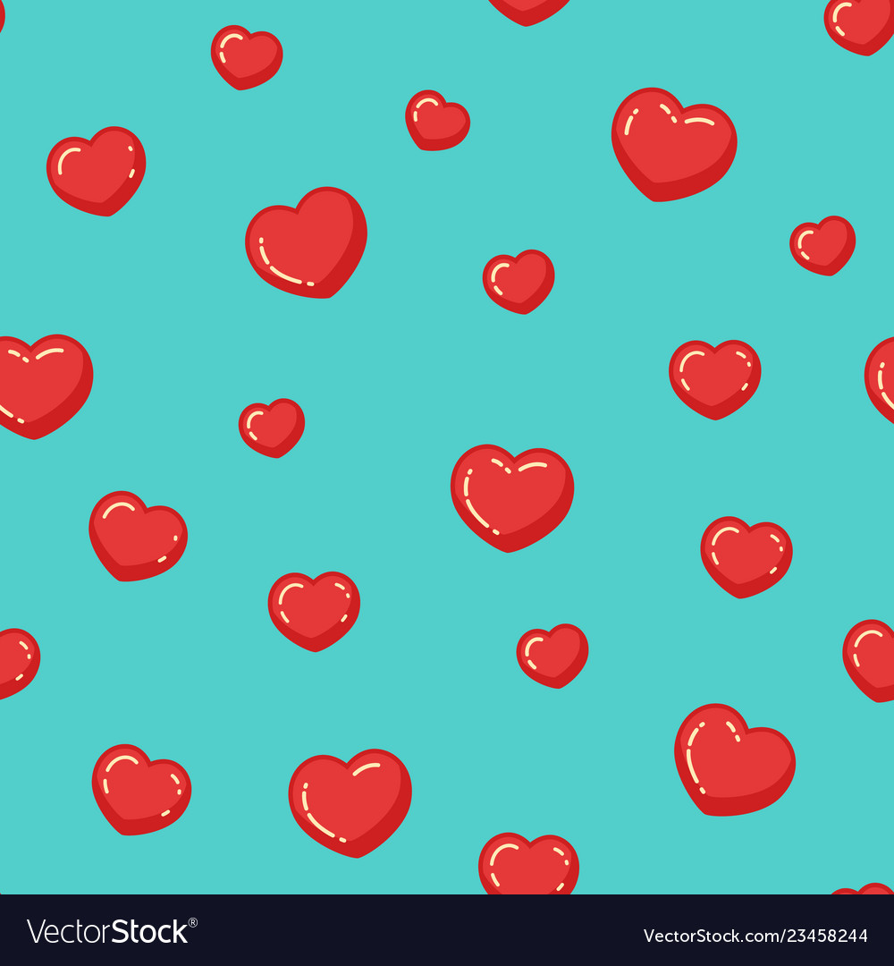 Red hearts pattern colorful seamless