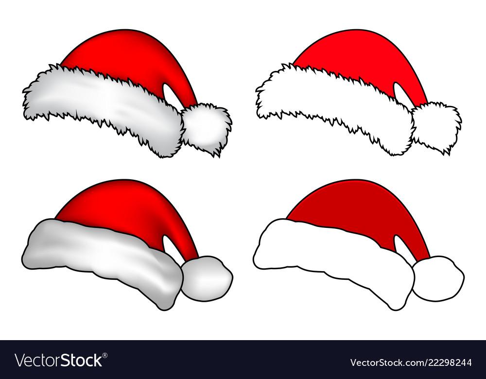 1601d65af002d Santa hat christmas cap icon set symbol design Vector Image