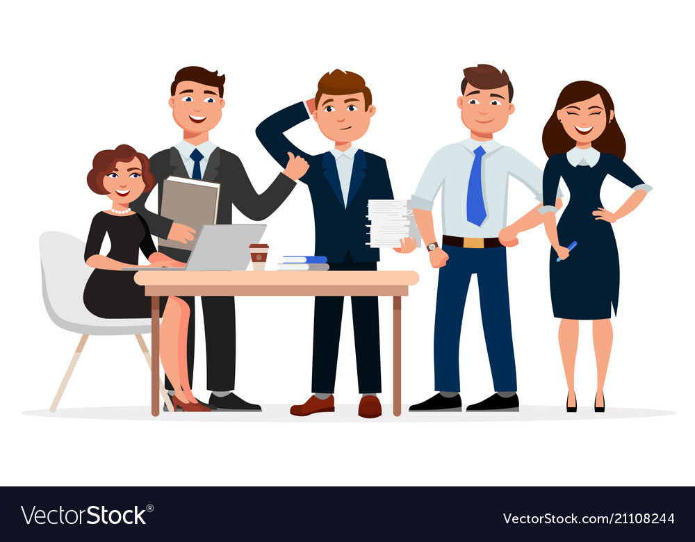 Set of cheerful business people cartoon characters