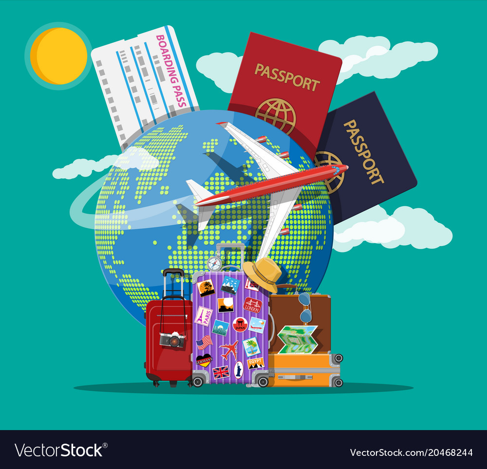Travel suitcase with stickers and world map vector image gumiabroncs Images