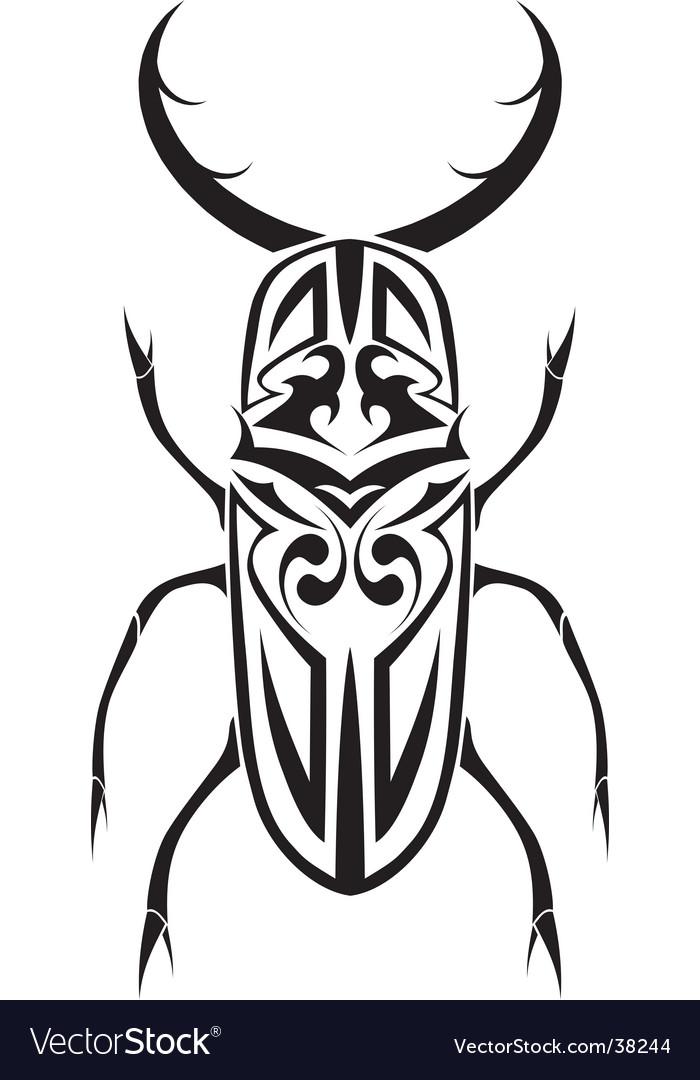 Tribal stag beetle tattoo